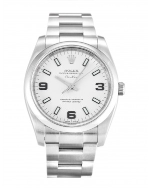 Fake Rolex Air-King White Quarter Arabic Dial 114200