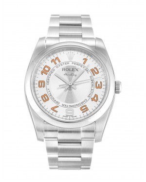 Fake Rolex Air-King Silver Arabic Dial 114200