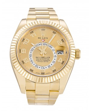 Fake Rolex Sky-Dweller Yellow Gold Mens Watch 326938