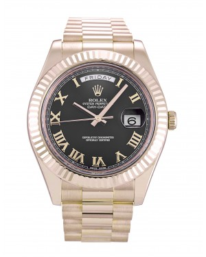 Fake Rolex Day-Date II Black Roman Numeral Dial 218235