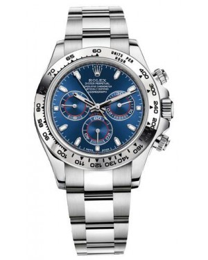 Fake Rolex Cosmograph Daytona White Gold Blue Dial 116509