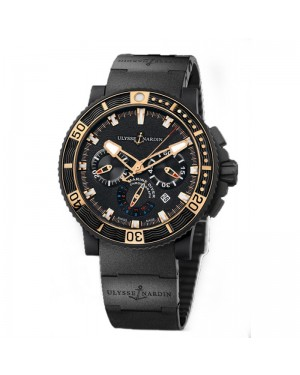 Fake Ulysse Nardin Maxi Marine Diver Black Sea Chronograph Watch 353-90-3C