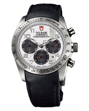 Fake Tudor Fastrider Chronograph Black Leather White Arabic 42000
