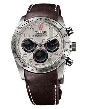 Fake Tudor Fastrider Chronograph Brown Leather Silver Arabic 42000