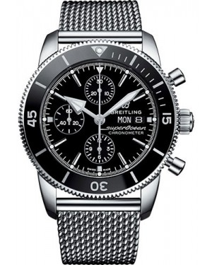 Replica Breitling Superocean Héritage II Chronograph 44 Steel Black Mens Watch A13313121B1A1