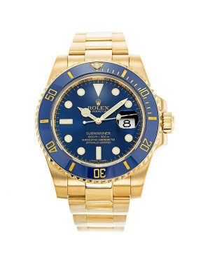 Fake Rolex Submariner Blue Dial Gold 116618LB