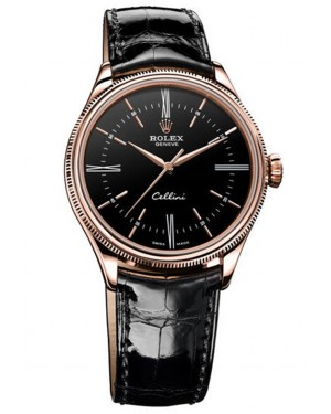 Fake Rolex Cellini Time Everose Gold Watch 50505 bkbk