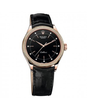 Fake Rolex Cellini Time 50605RBR Rose Gold & Diamonds