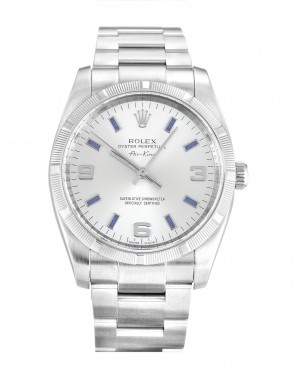 Fake Rolex Air-King Silver Quarter Arabic Dial 114210