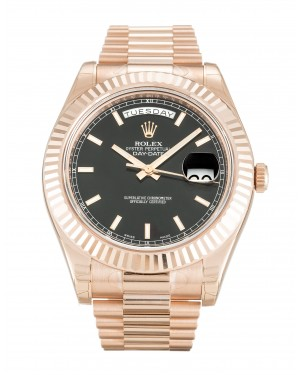 Fake Rolex Day-Date II Black Dial 218235