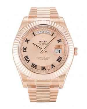 Fake Rolex Day-Date II Rose Roman Numeral Dial 218235