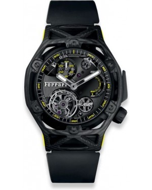 Fake Hublot Techframe Ferrari Tourbillon Chronograph Carbon Yellow 408.QU.0129.RX