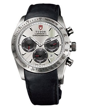 Fake Tudor Fastrider Chronograph Black Leather Silver Index 42000