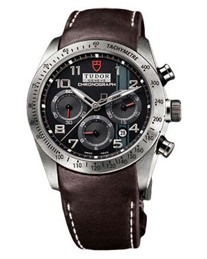 Fake Tudor Fastrider Chronograph Brown Leather Black Arabic 42000