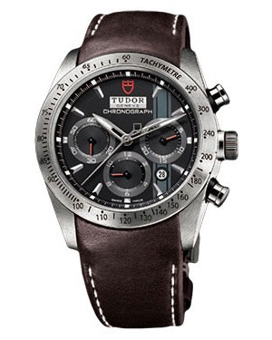 Fake Tudor Fastrider Chronograph Brown Leather Black Index 42000