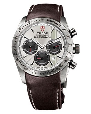 Fake Tudor Fastrider Chronograph Brown Leather Silver Inde 42000