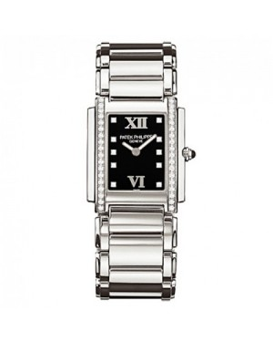Fake Patek Philippe Twenty-4 Black Dial Steel Diamond Ladies Watch 4910-10A-001