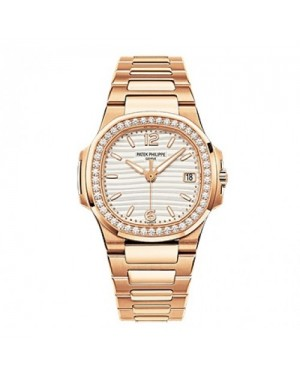 Fake Patek Philippe Nautlis Rose Gold Diamond Ladies Watch 7010/1R-011