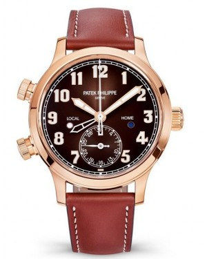 Replica Patek Philippe Calatrava Pilot Travel Time Rose Gold Watch 7234R-001