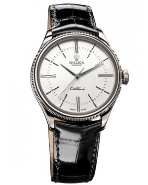 Fake Rolex Cellini Time White Gold Watch 50509 wbk