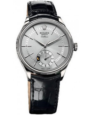 Fake Rolex Cellini Dual Time White Gold Watch 50529 sbk